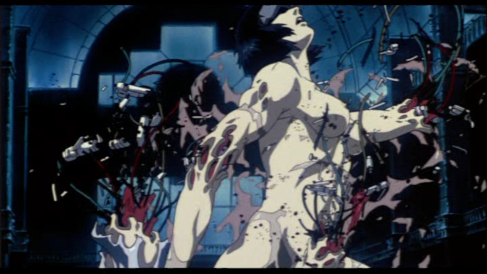 [The Major's prosthetic body is ripped apart, in the 1995 animated Ghost in the Shell movie]