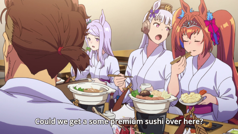 [Horse girls eating expensive Japanese cuisine]