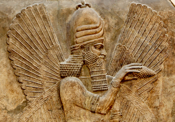 Sumerian Genie with sacred pine cone, and wristwatch