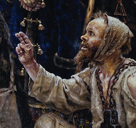 Detail of the beggar's hand gesture