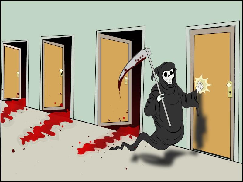 Internet meme image:  Death knocking on doors